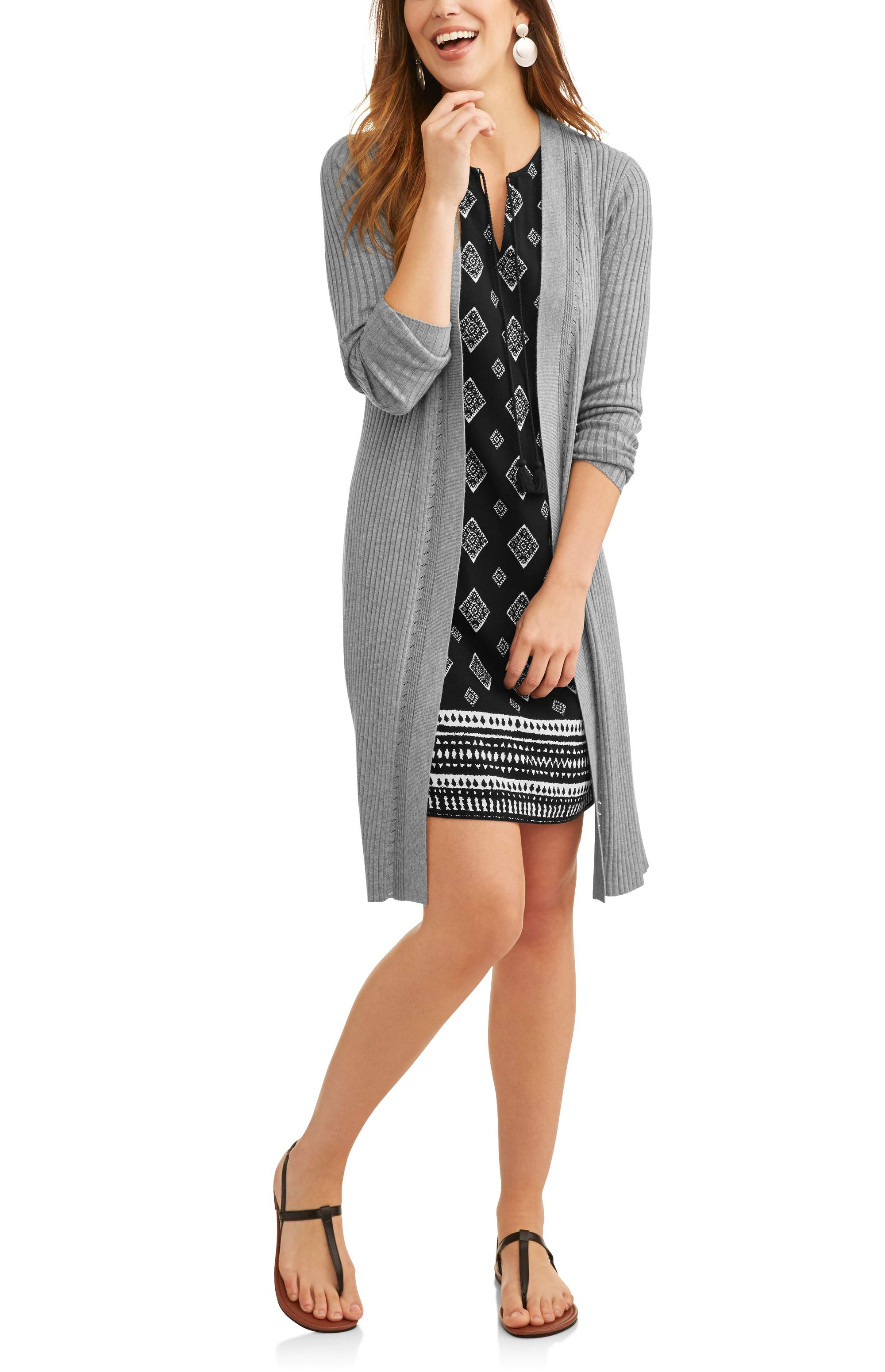 3ca968d9ce76 Time and Tru Women s Ribbed Duster Cardigan – Walmart Inventory ...