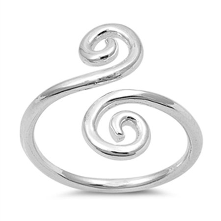 Women's Open Swirl Design Promise Ring ( Sizes 3 4 5 6 7 8 9 10 ) New .925 Sterling Silver Band Rings by Sac Silver (Size 9)