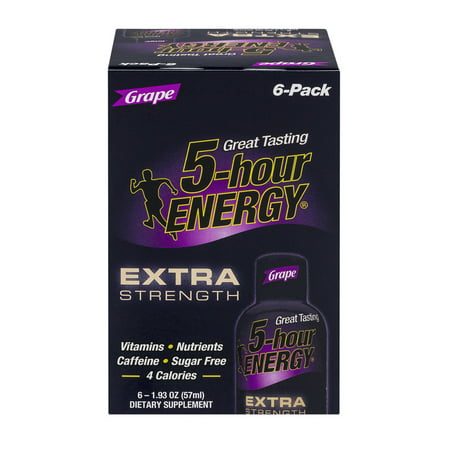 5 Hour Energy Extra Strength Dietary Supplement Grape   6 Ct