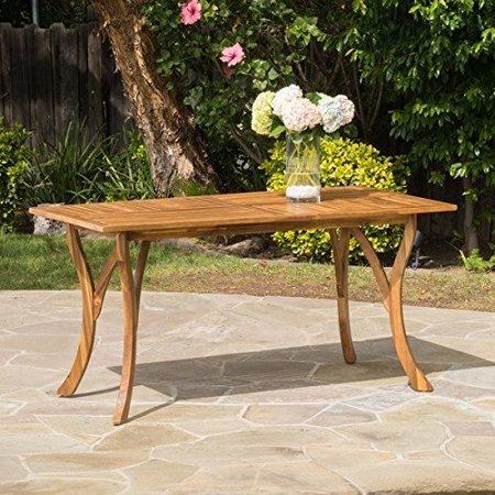 Contemporary Hermosa Outdoor Acacia Wood Rectangle Dining