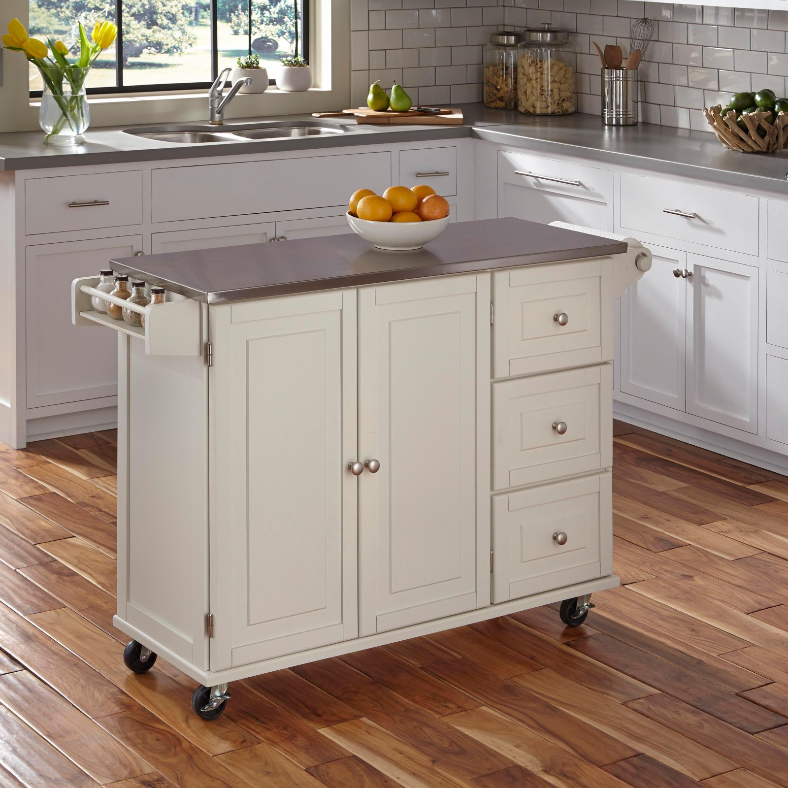 Genial Liberty Kitchen Cart With Wood Top, White