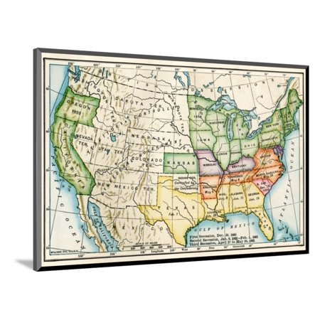 U.S. Map Showing Seceeding States by Date, American Civil War, c.1861 Wood  Mounted Print Wall Art