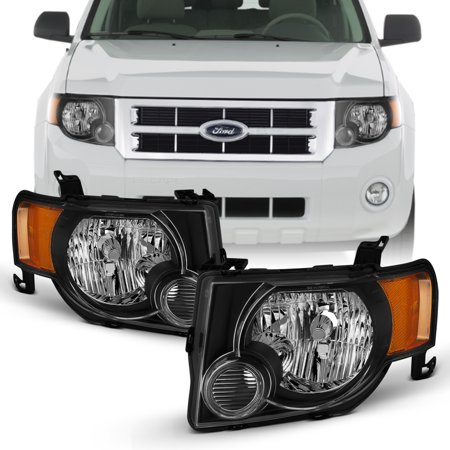 For 2008-2012 Ford Escape [OE Style] Black Headlights LH+RH Pair w/Amber Signal