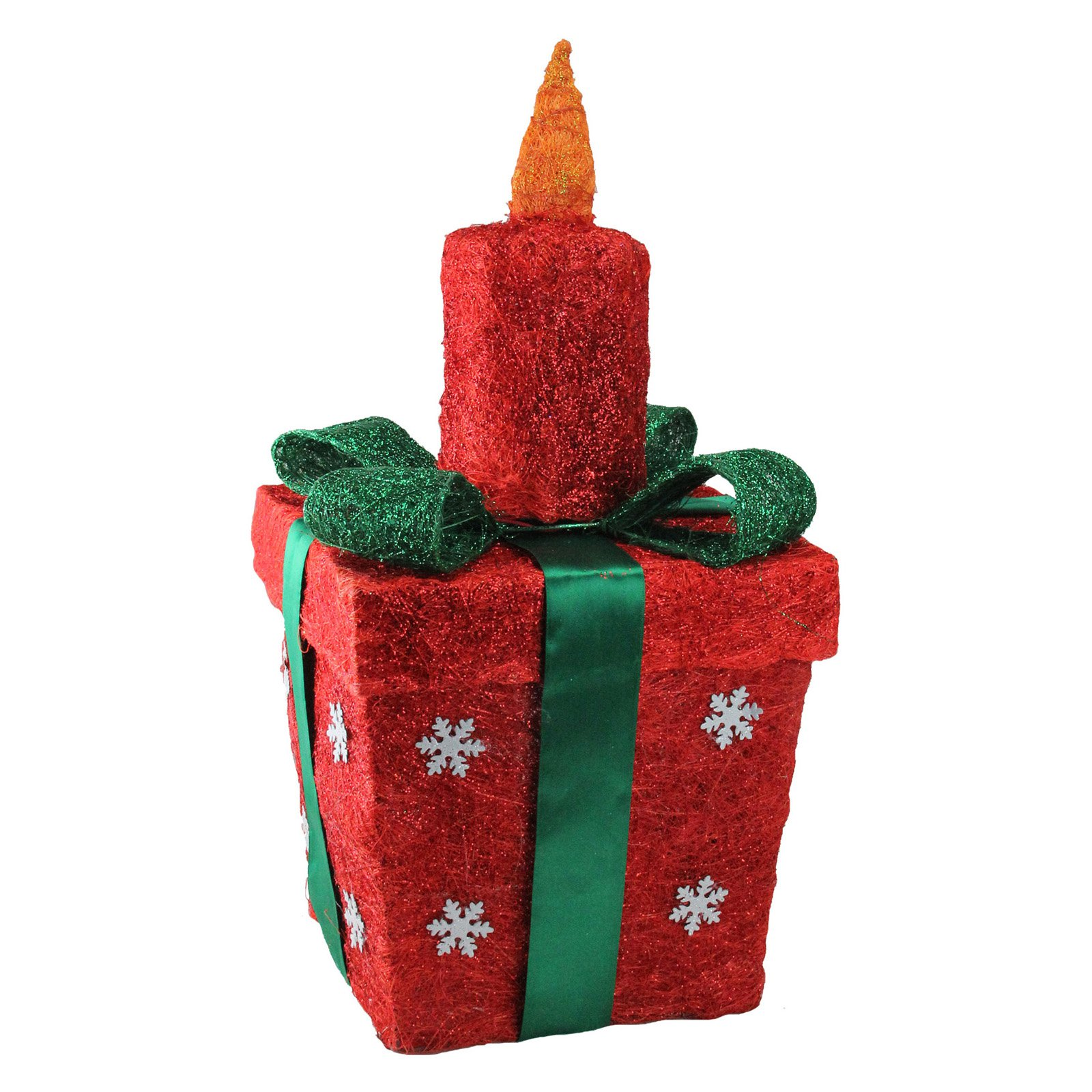 Northlight 20 in. Lighted Sisal Gift Box with Candle Christmas Yard Decoration