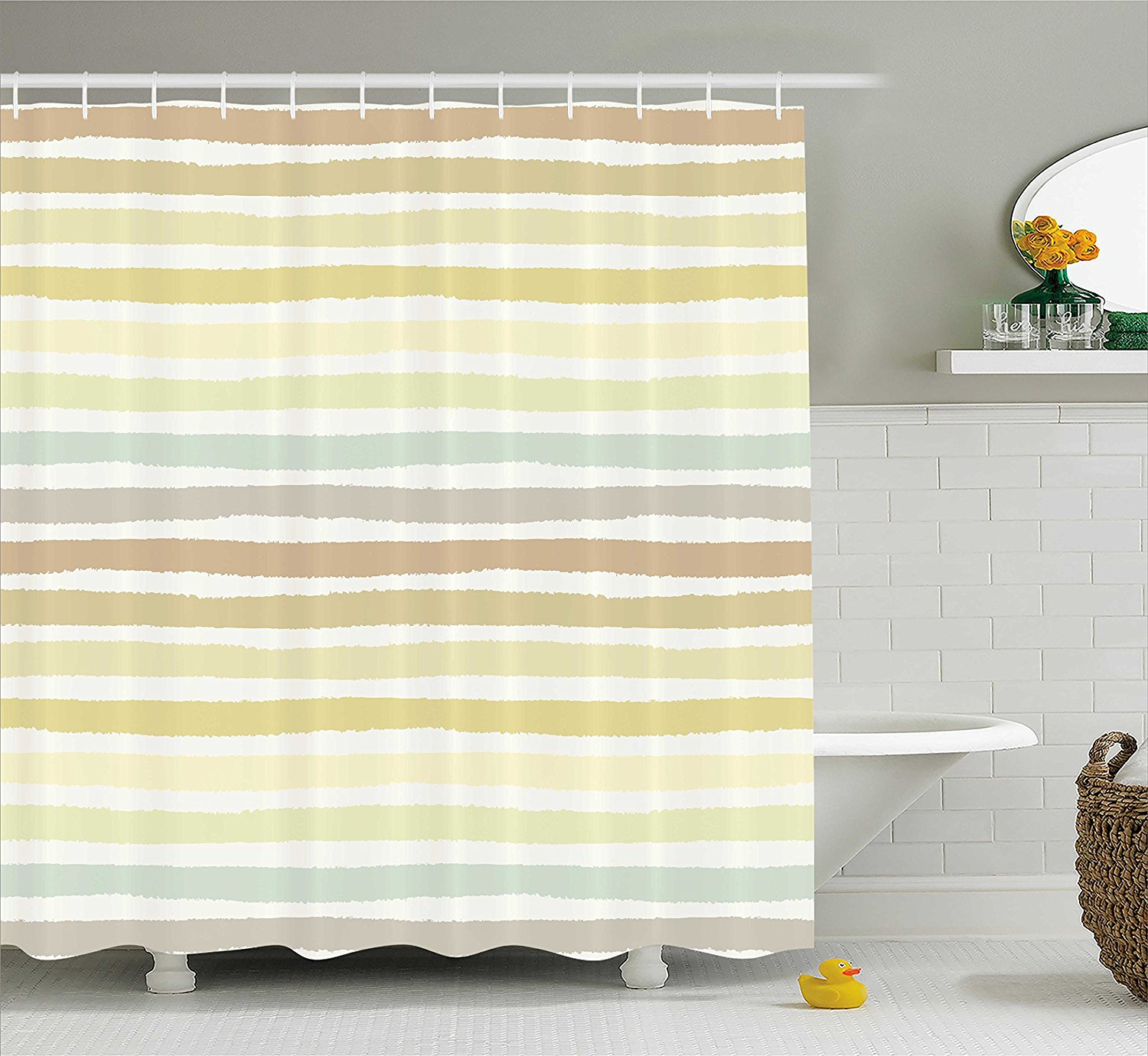 Modern Shower Curtain By Coral Reed With Pearl Shell On