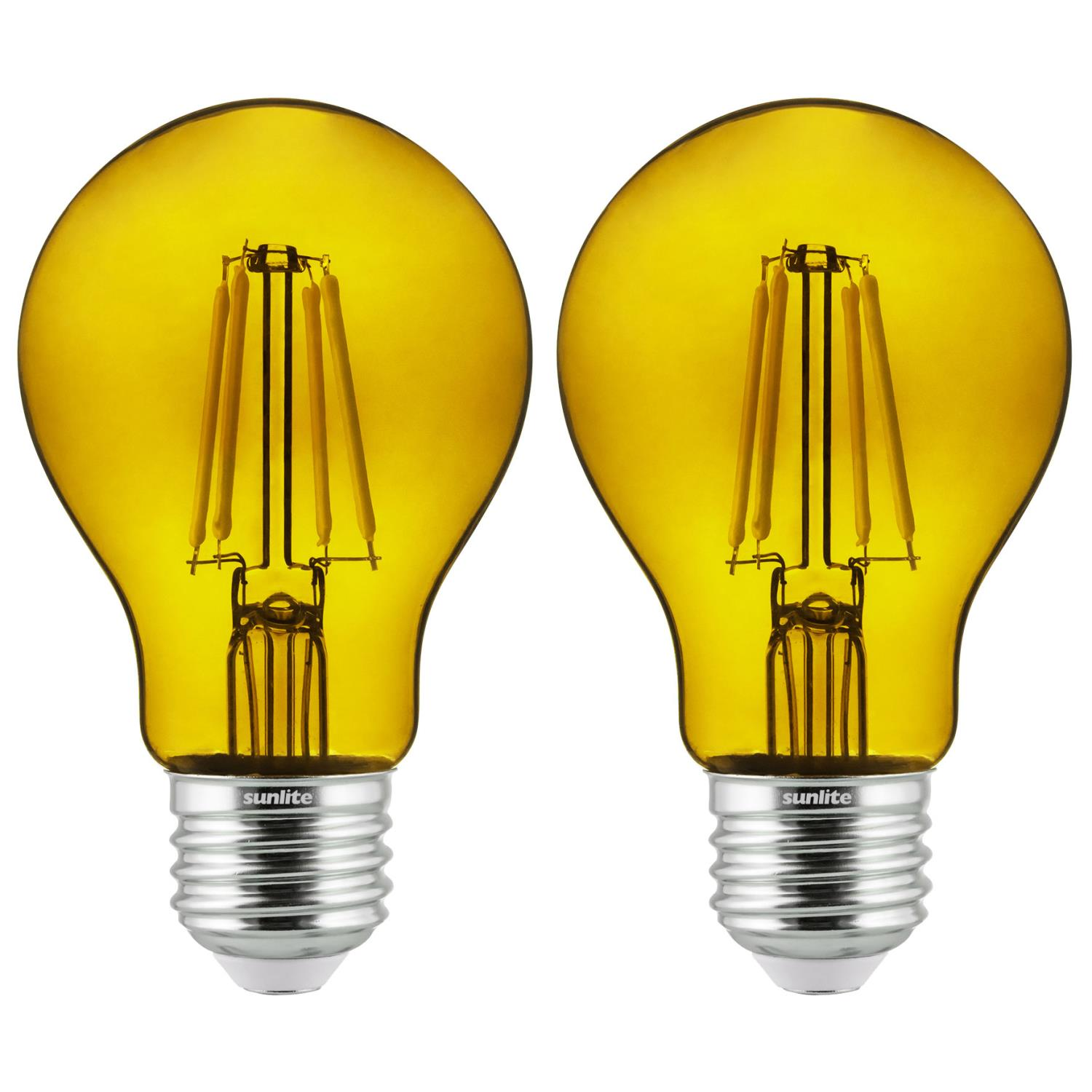 2-Pack Sunlite LED Transparent Yellow A19 Filament Bulbs, 4.5 Watts, Dimmable, UL Listed