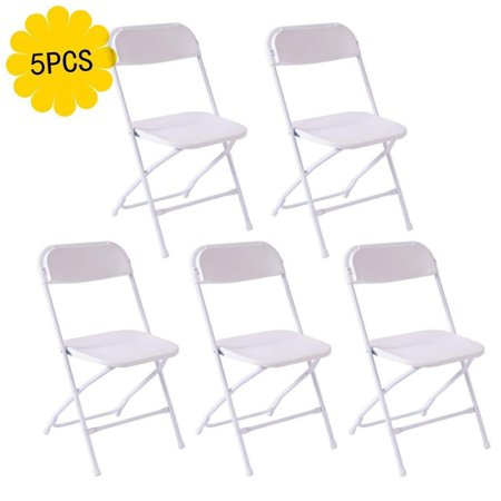 Zimtown 5pcs Plastic Folding Chairs Wedding Party Event Chair Commercial White ()