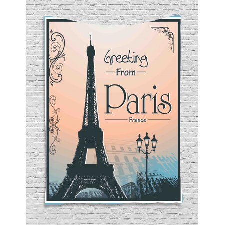 Eiffel Tower Tapestry, Greeting from Paris France Romantic Poster, Wall Hanging for Bedroom Living Room Dorm Decor, Peach Dark Slate Blue Deep Sky Blue and White, by (Sky Room Presents Tower Of Terror October 28)