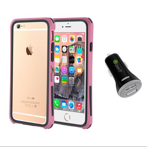 iPhone 6 Case Bundle (Case + Charger), roocase iPhone 6 4.7 Linear Bumper Open Back with Corner Edge Protection Case Cover with Black 3.4A Car Charger for Apple iPhone 6 4.7-inch, Pink