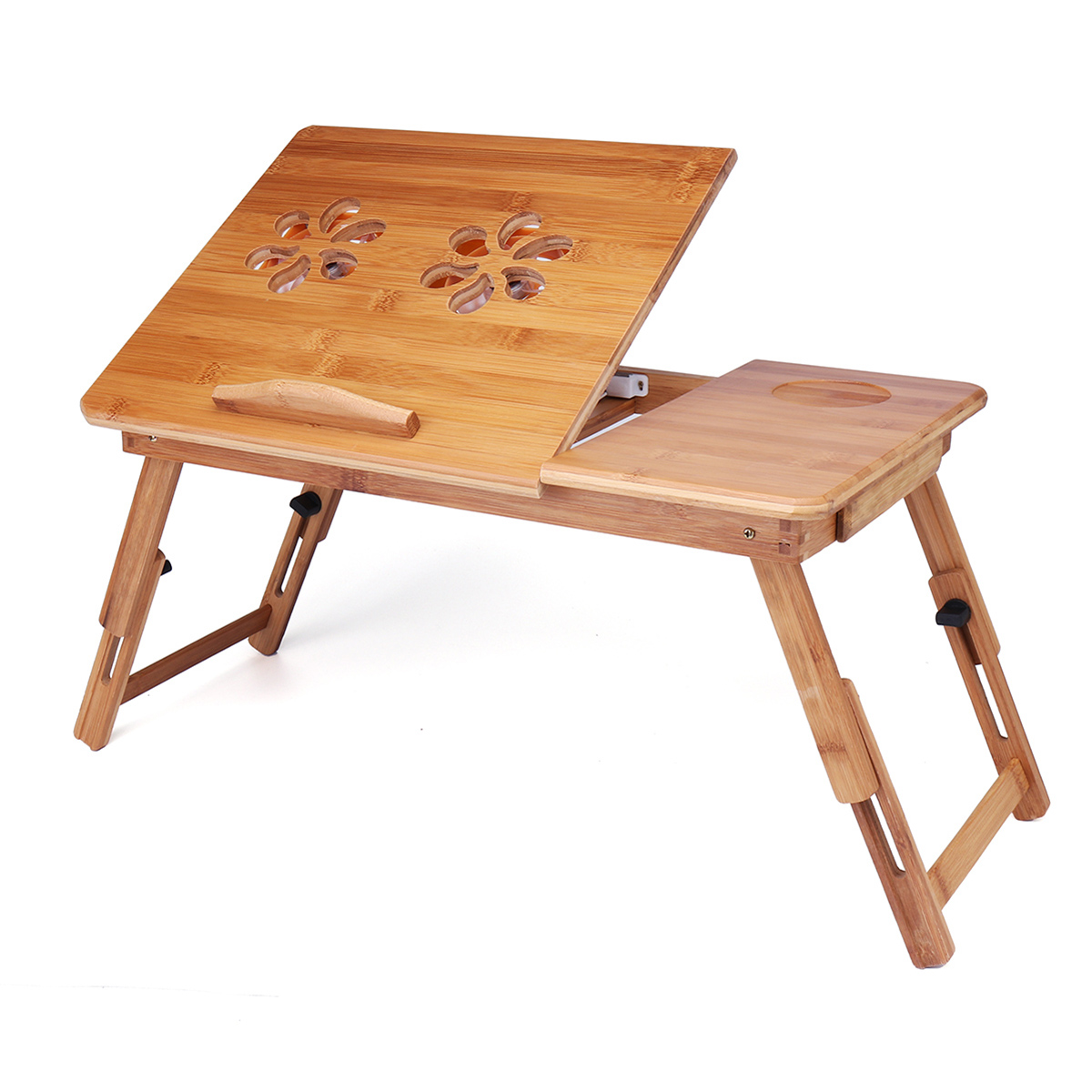 Foldable Laptop Table Natural Bamboo Wood Lap Desk Breakfast Serving Bed Tray Table Stand with Fan by Moaere