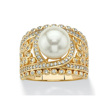 Simulated Pearl and Cubic Zirconia Floral Cocktail Ring .65 TCW in 14k Gold over Sterling Silver