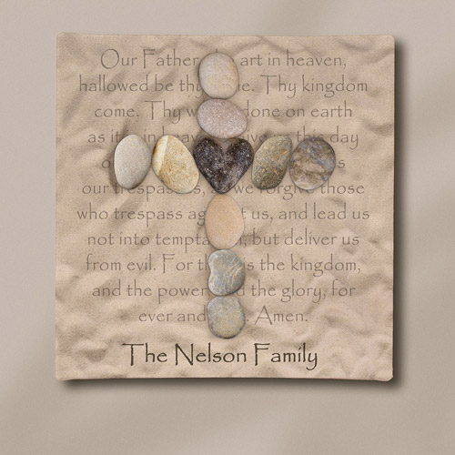 "Personalized Stone Cross Canvas, 11"" x 11"""