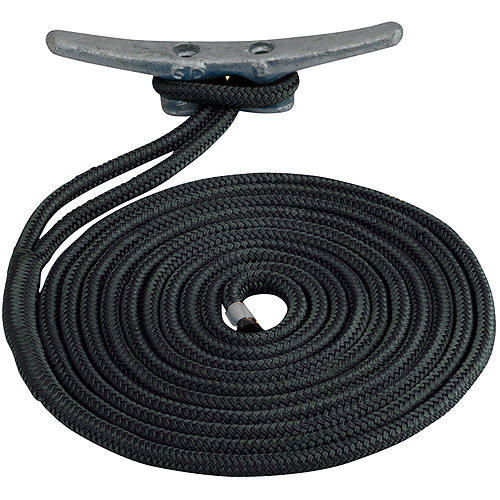 "Sea Dog Dock Line, Double Braided Nylon, 3 8"" x 15', Black by Sea Dog"