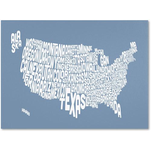 Trademark Art 'STEEL-USA States Text Map' Canvas Art by Michael Tompsett