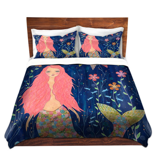 DiaNoche Designs Pink Mermaid Duvet Cover Set