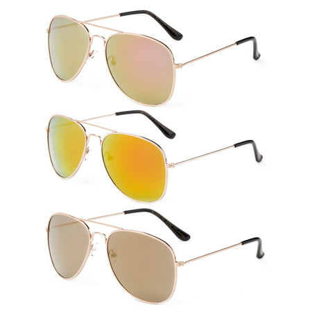 Newbee Fashion - 2 Pack & 3 Pack Classic Aviator Sunglasses Flash Full Mirror lenses Metal Frame for Men Women UV (Designer Mirrored Aviator Sunglasses)