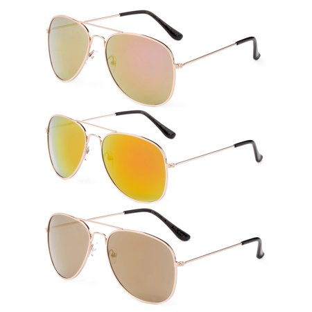 Newbee Fashion - 2 Pack & 3 Pack Classic Aviator Sunglasses Flash Full Mirror lenses Metal Frame for Men Women UV (Sun Glasses Frames)