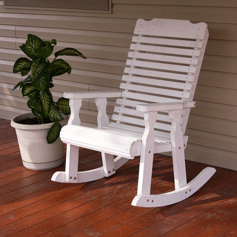 Amish Heavy Duty 600 Lb Classic Pressure Treated Rocking Chair (Semi-Solid White Stain)