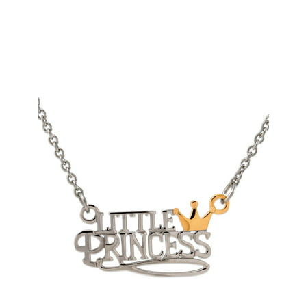 Girls' Stainless Steel Two-Tone Little Princess with Crown Necklace - Little Girls Necklaces
