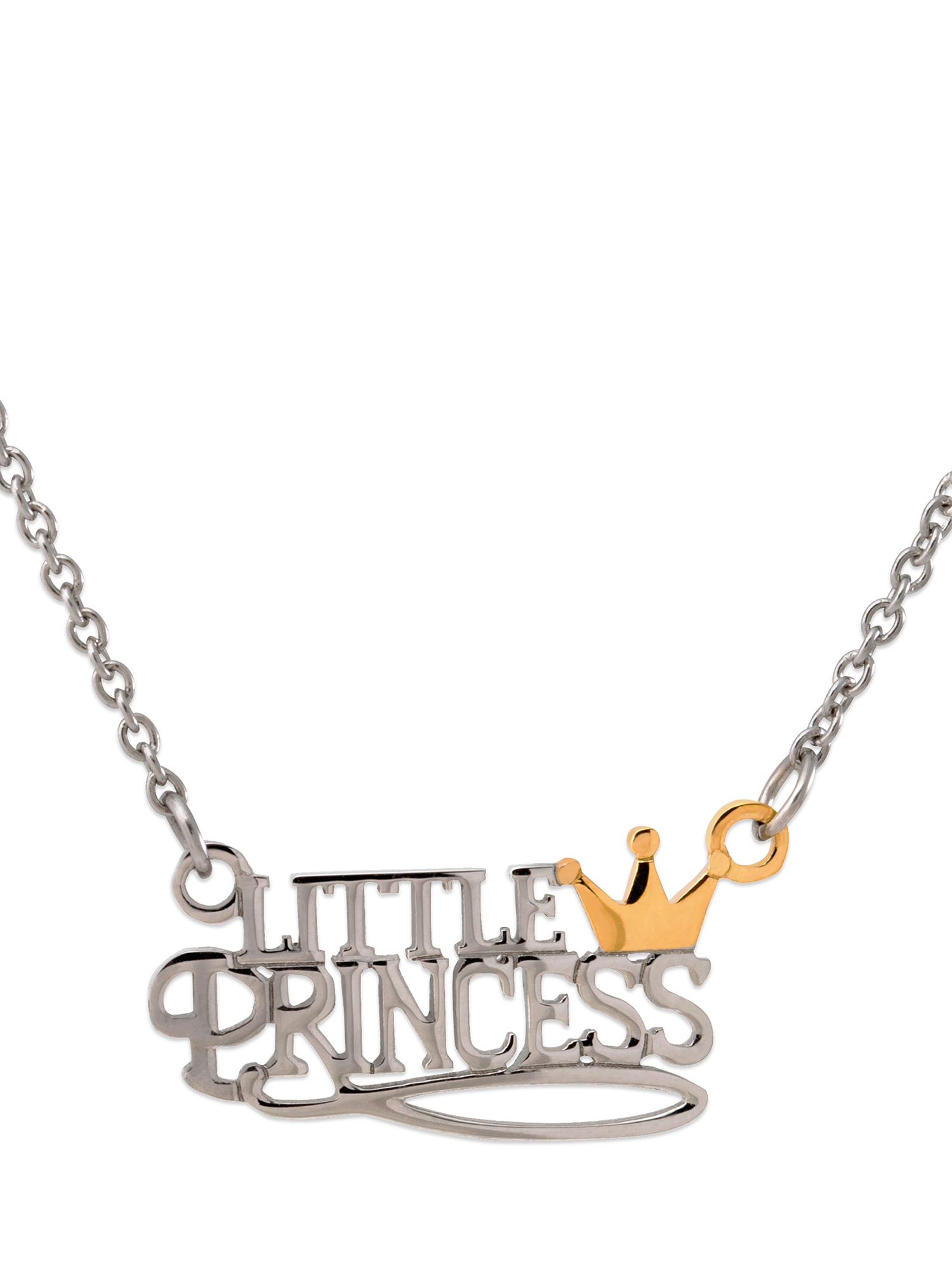 Girls' Stainless Steel Two-Tone Little Princess with Crown Necklace