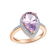 3.73CT Zircon Pave Halo Pear Teardrop Pink Amethyst Statement Ring Rose Gold Plated Sterling Silver February Birthstone