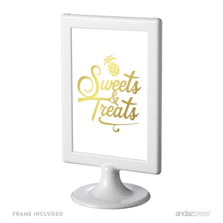 Gold Ink Pineapple Party, 4x6-inch Birthday Framed Party Signs, Sweets & Treats, Includes Frame