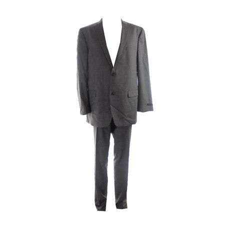 marc york andrew marc medium grey striped slim-fit suit 44l-37w Striped Poker Suit