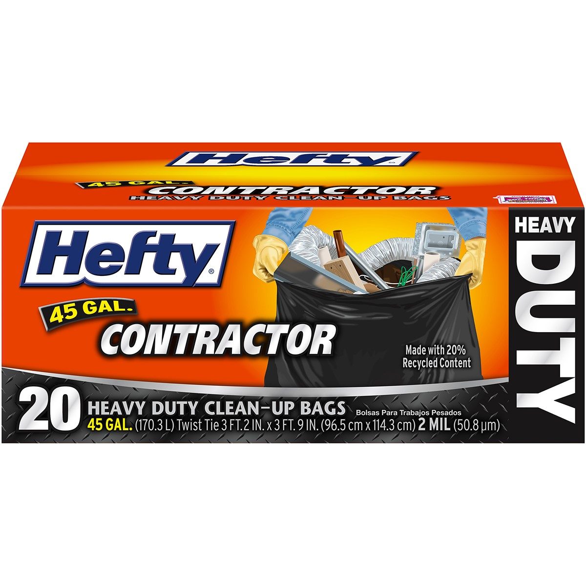 Hefty 45-gallon Contractor Bags, 20-count