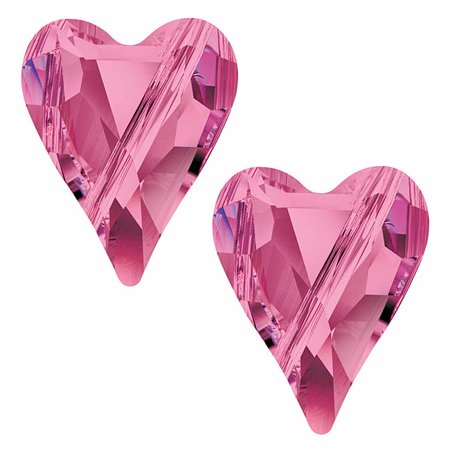Swarovski Crystal, #5743 Wild Heart Beads 12mm, 2 Pieces, Rose