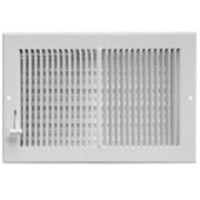 Imperial RG0309 Multi-Shutter Register, 8 in W x 4 in H Duct Opening, Steel, White