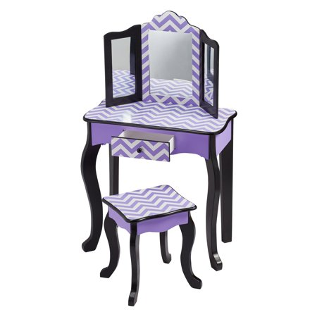 Teamson Kids - Fashion Chevron Prints Gisele Vanity Table & Stool Set, with Mirror, Multiple Finishes