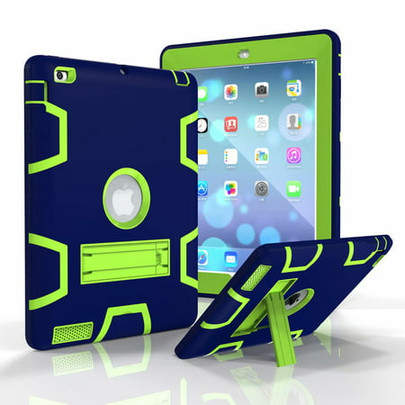 iPad 6th Gen 2018 Case, iPad 5th Gen 2017 Case, Dteck Shockproof Three Layer Hybrid Rugged Heavy Duty Kickstand Anti-Slip Cover For iPad 9.7 Inch (2017/2018 (Best Shockproof Cases For Ipad Airs)