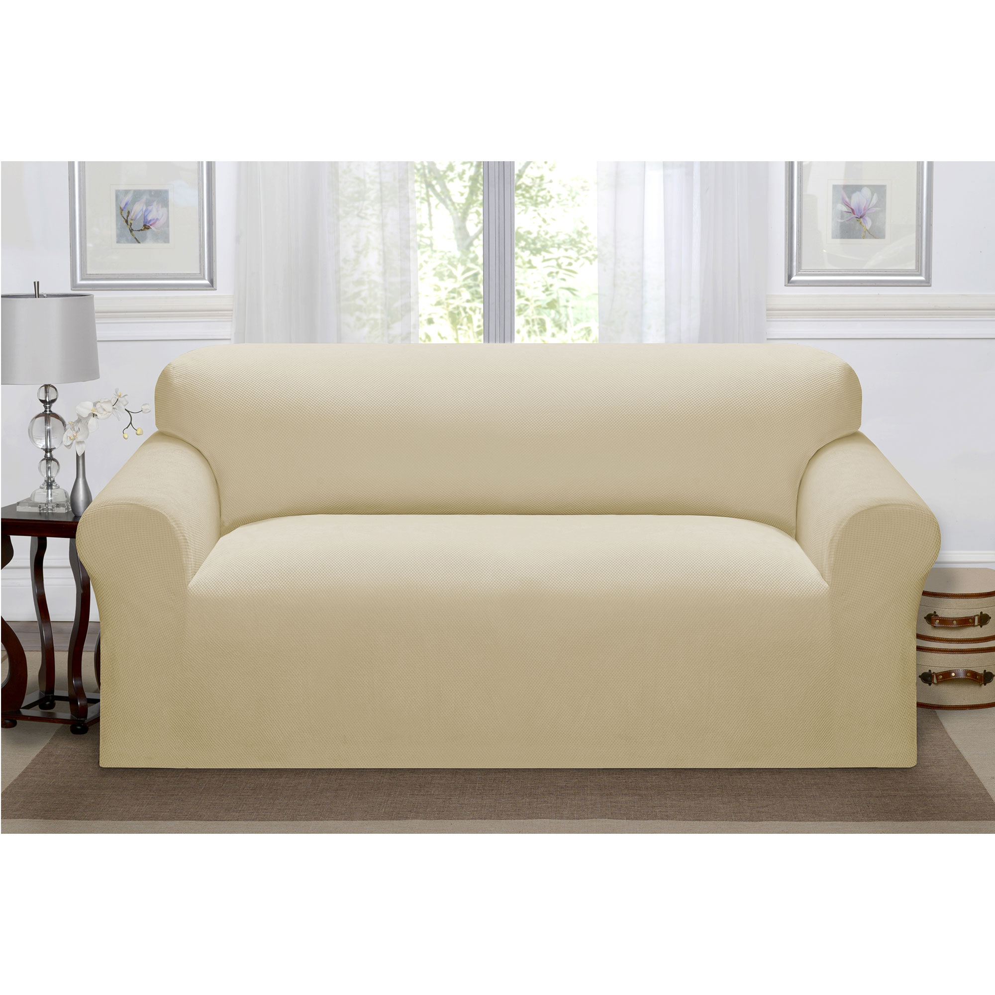 Madison Home Stretch Pique Furniture Slipcover, Soft Waffle Textured Pattern (Sofa, Linen)