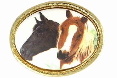 Brown & Black Horse Gold Tone Oval Pin by