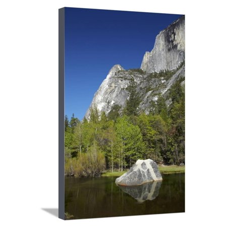 North Face Half Dome - North West Face of Half Dome, and Mirror Lake, Yosemite NP, California Stretched Canvas Print Wall Art By David Wall
