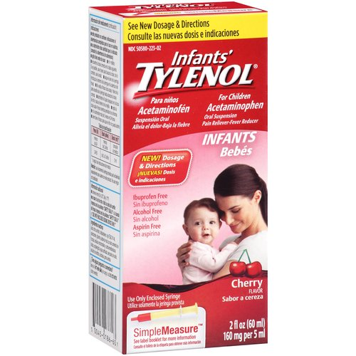 Infants' Tylenol Cherry Flavor Oral Suspension Pain Reliever-Fever Reducer, 2 fl oz