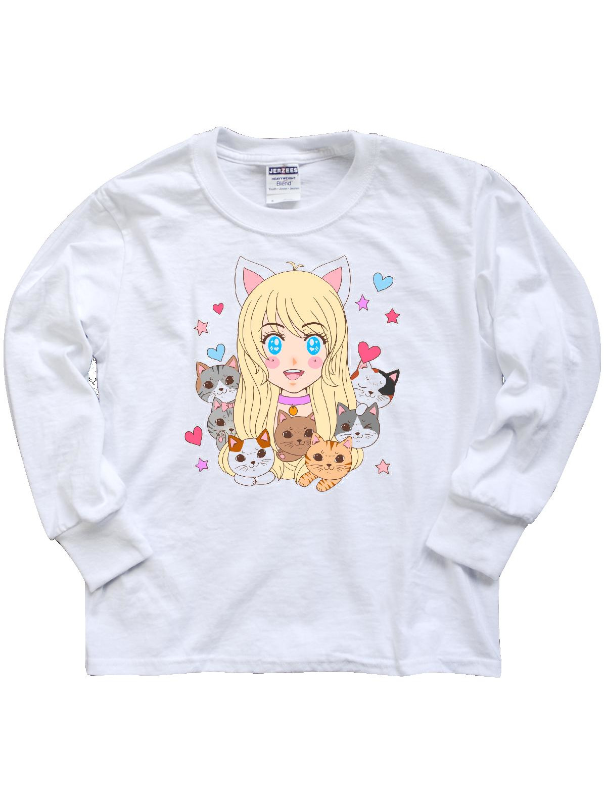 Neko Anime Girl with Kittens Youth Long Sleeve T-Shirt