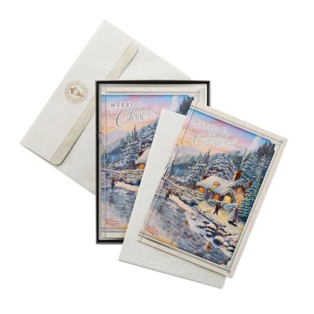 Hallmark Thomas Kinkade Christmas Boxed Cards, Mountain Cottage (12 Cards and 13 Envelopes) - Tinkerbell Christmas Cards