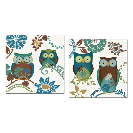12x12 Patterned - Groovy Blue, Brown and Teal Decorative Patterned Owls by Veronique Charron; Two 12x12 Poster Prints