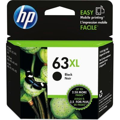 Inkjet Printer Black Ink - HP 63XL High Yield Black Original Ink Cartridge