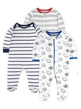 Little Star Organic Newborn Baby Boys Sports Sleep 'N Play Footed Pajamas, 3-Pack (NB-9M)