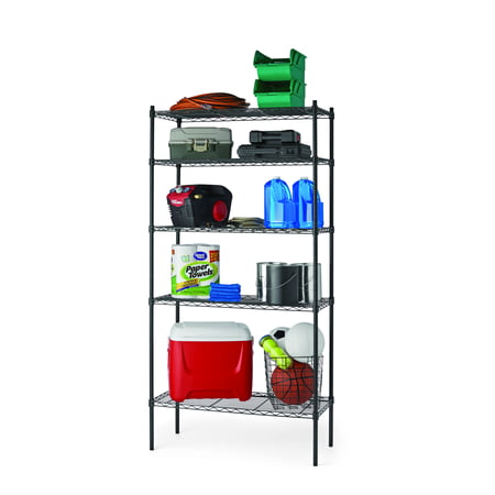 "Hyper Tough 16""Dx36""Wx72""H 5 Tier Wire Shelving Rack, Black"