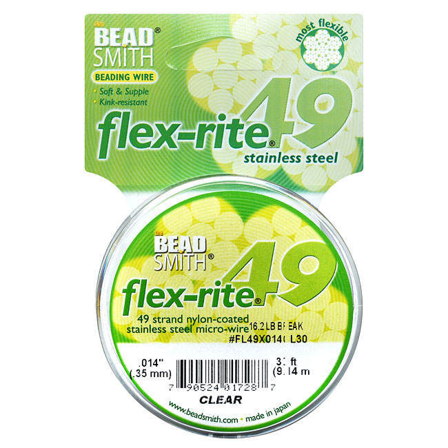 """BeadSmith Flex-Rite Beading Wire, 49 Strand .014"""" Thick, 30 Foot Spool, Clear"""