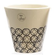 Basic Luxury Handmade White and Black Circled Diamond on Bottom Flower Pot Planter 6""