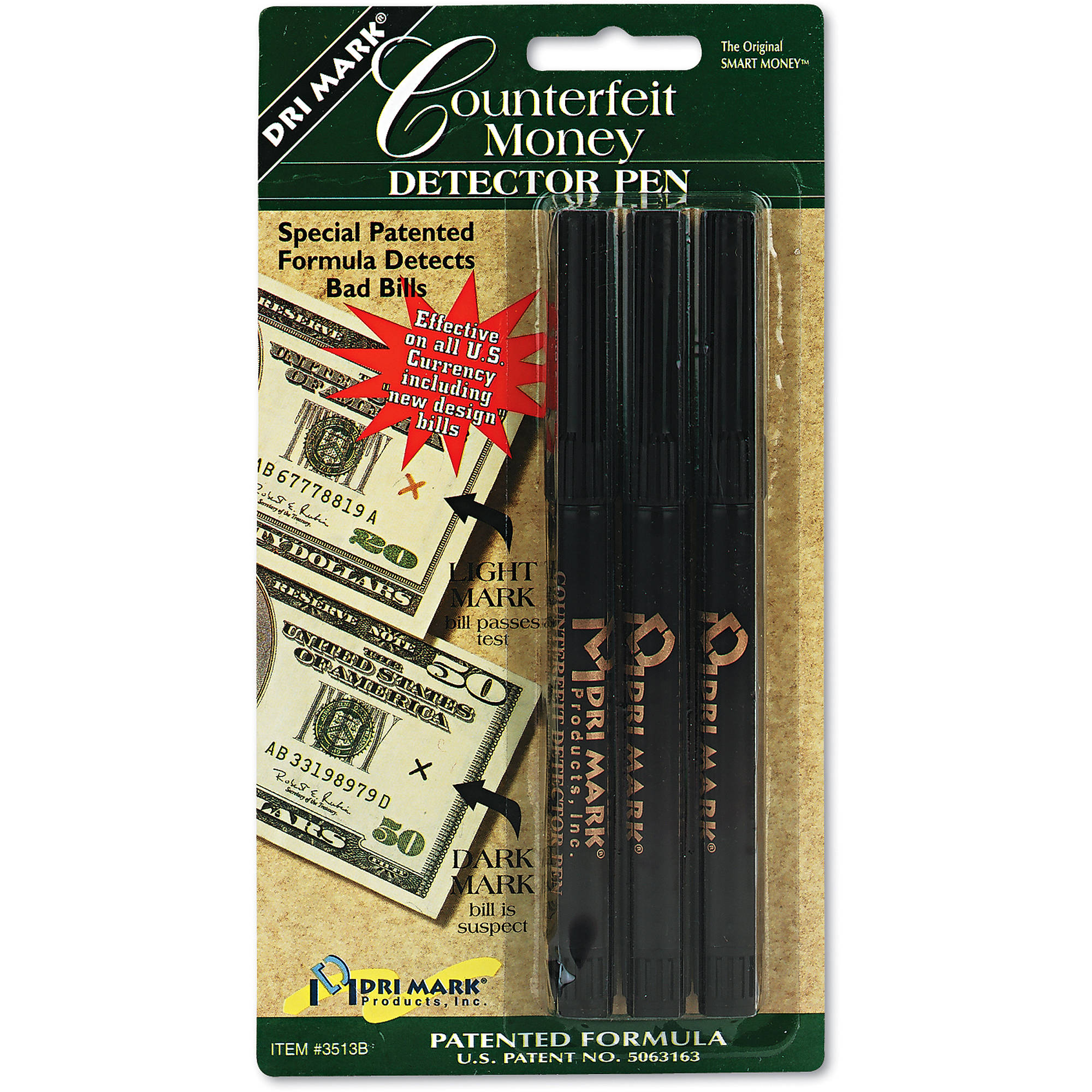 Dri-Mark Smart Money Counterfeit Bill Detector Pen for Use w/U.S. Currency, 12-Pack