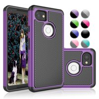 Google Pixel 2 XL Case, Google Pixel 2 XL Case For Girls, Njjex Hybrid Dual Layer Shock-Absorption Slim Protective Case Cover For Google Pixel 2 XL (2017) -Purple
