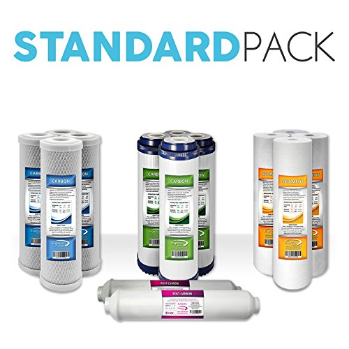 """Express Water Reverse Osmosis RO Replacement Filters Set Universal Standard 10"""" GAC Carbon Inline Sediment Coconut Shell"""