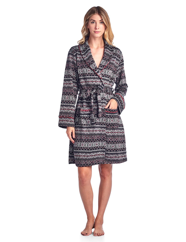 Ashford & Brooks Women's Sweater Fleece Printed Lounge Robe