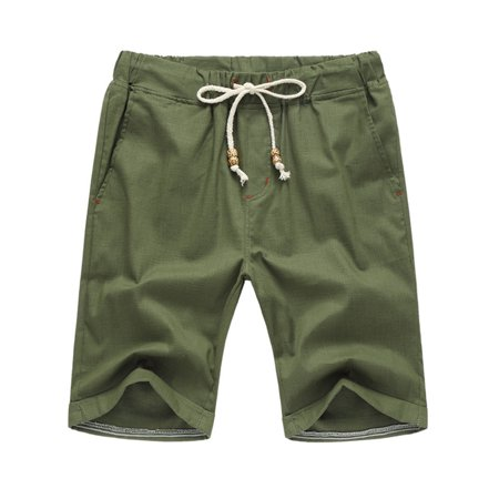 Men's Casual Solid Color Drawstring Waist Flax Straight Half Pans Beach Breeches Color:Green Size:4XL (Sale Breeches)