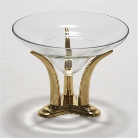 Distinctive Designs M2-29308A Large Lead Crystal Glass Bowl with an Antique Brass Finish Tusk Base